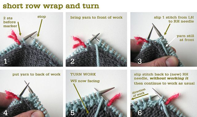 Short Row Wrap & Turn Knitting Tips Pinterest