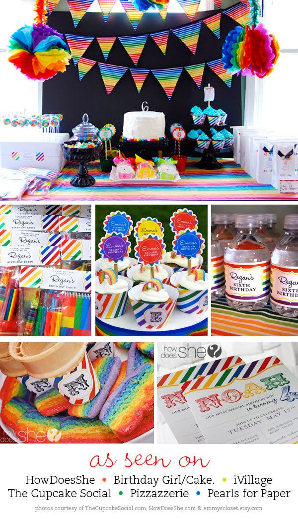 Rainbow party - Personalized DIY printable sign. $8.00, via Etsy.