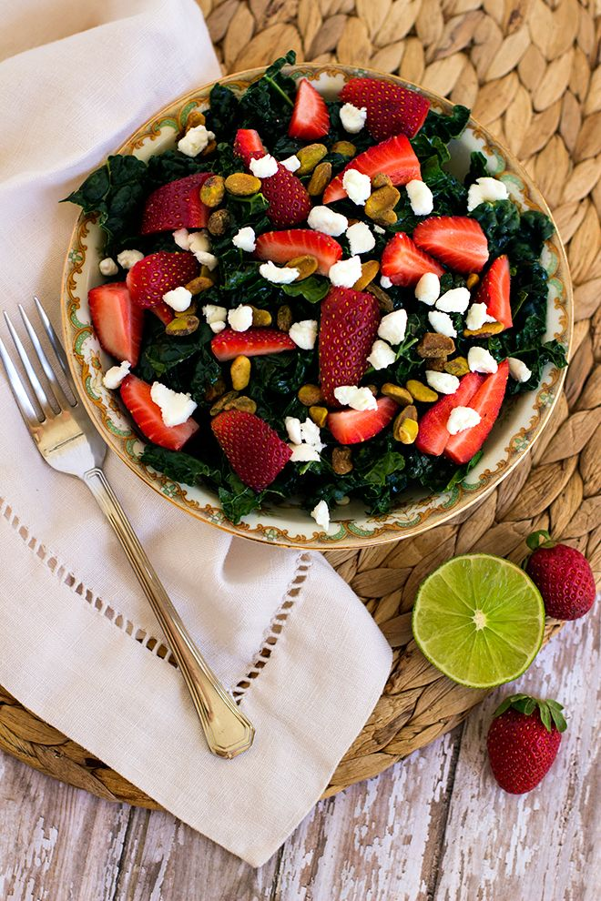 Crunchy Spring Strawberry Kale Salad with Honey Lime Dressing http ...