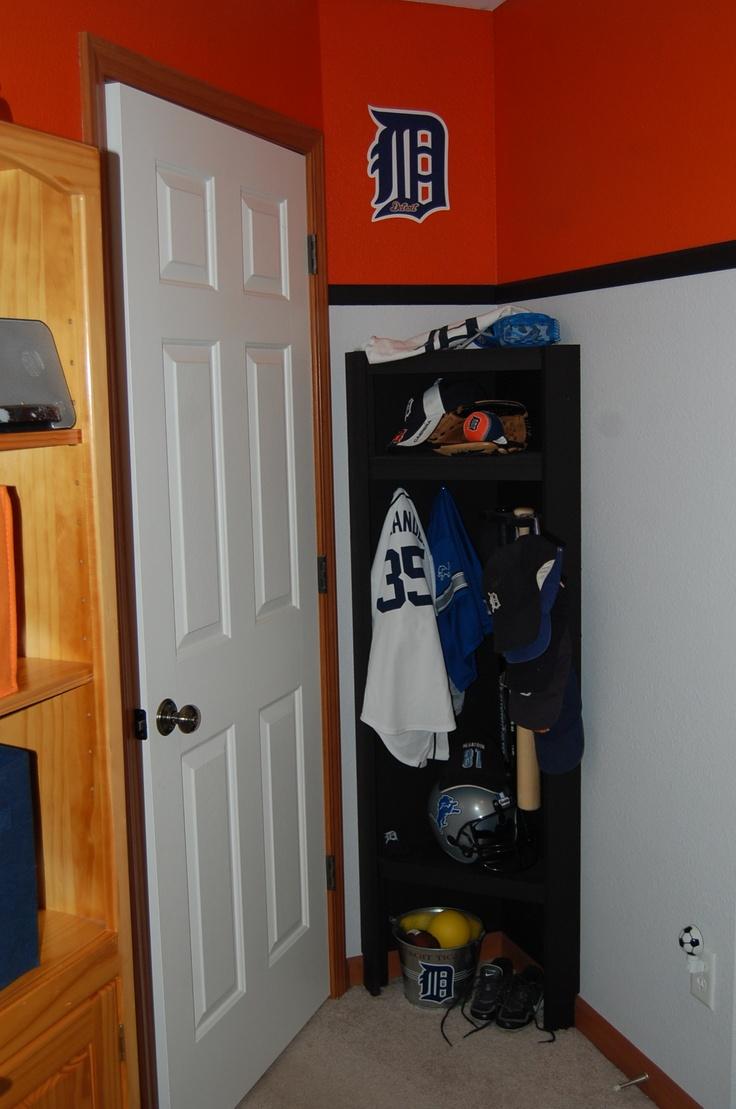 bit of space behind my son 39 s bedroom door his own sports cubby