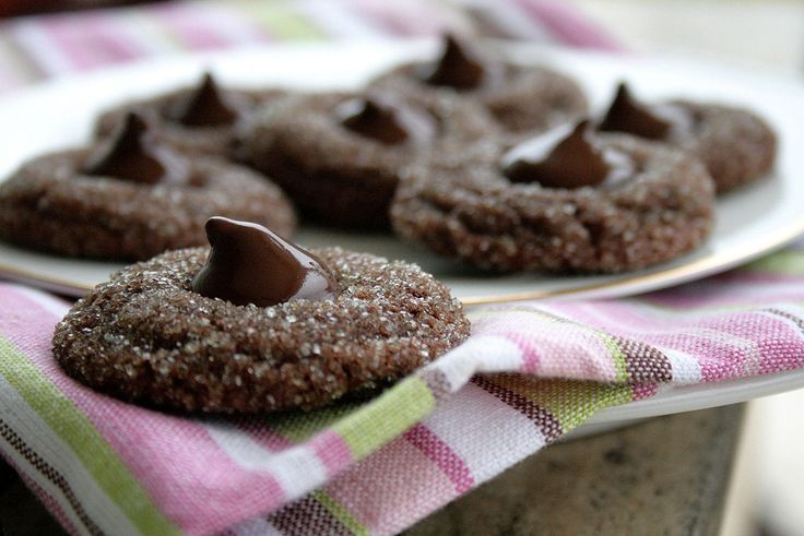 Sparkling Cocoa Mint Truffle Kiss Cookies
