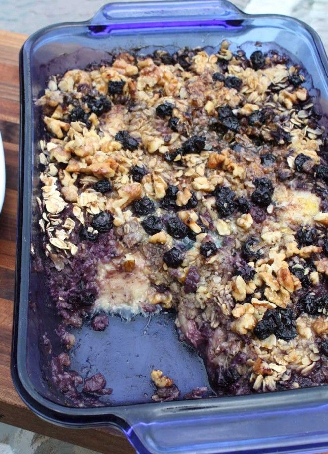 Baked Oatmeal With Blueberries And Bananas Recipe — Dishmaps