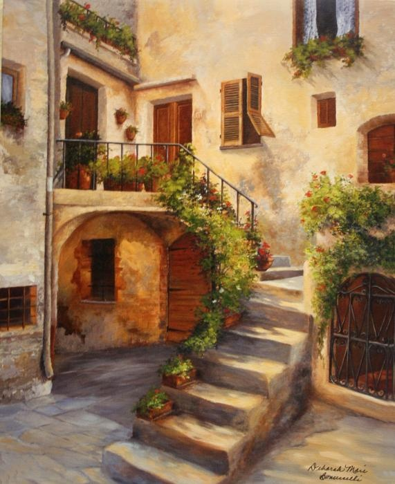 Tuscan courtyard tuscan patio pinterest for Tuscan courtyard landscaping