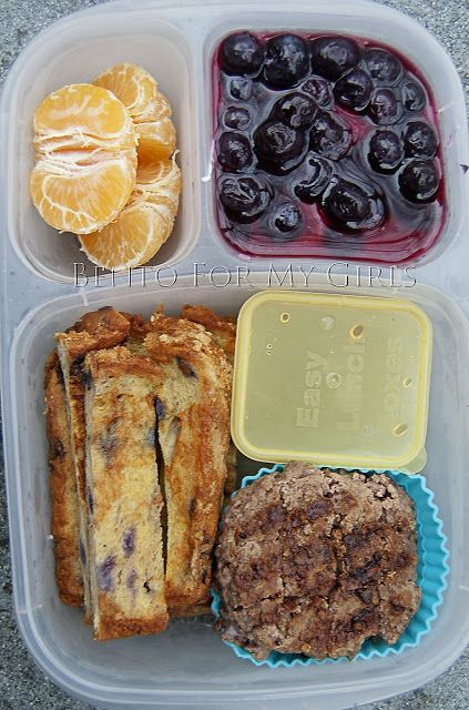 ... for lunch. French toast, sausage, orange, yogurt and blueberries