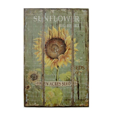 Shabby french chic sunflower wall decor on wood mount art for Shabby chic dining room wall art