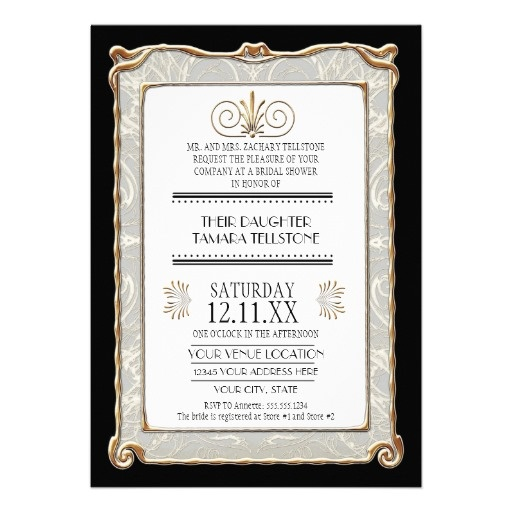 ... Deco Nouveau Great Gatsby Style Gold n Lace Look Invitations #invites