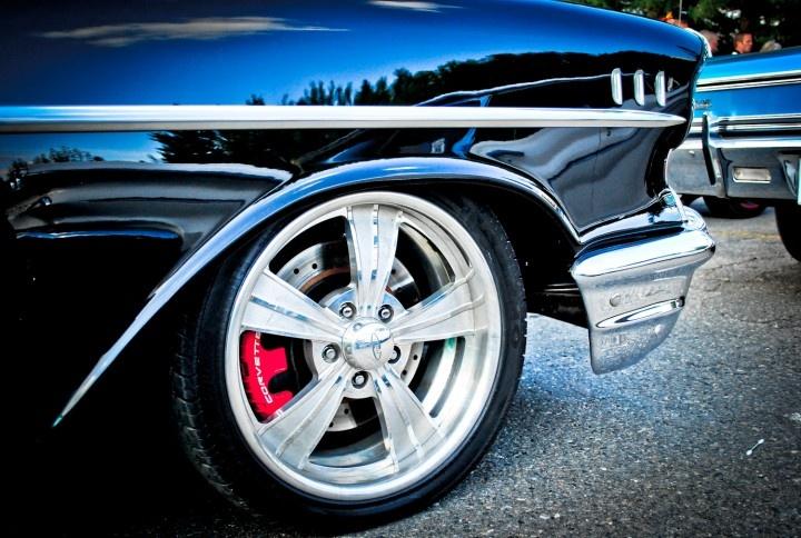 Beautiful car wheel on a classic.