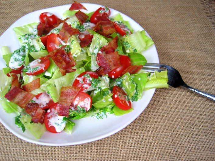 BLT Salad with Buttermilk Chive Dressing | just the tip | Pinterest