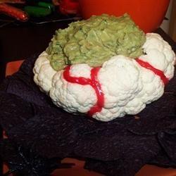 Halloween Brain Dip Recipe ~ using a head cauliflower :)