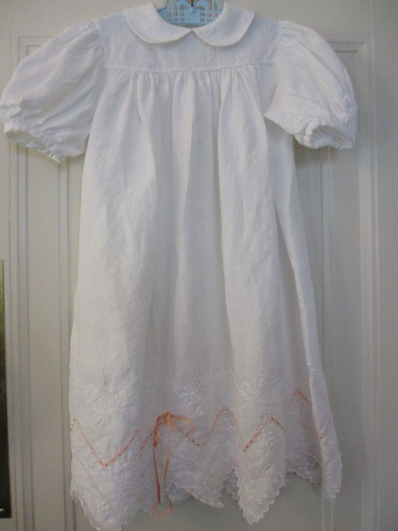 Vintage white linen dress 4t