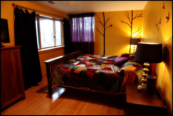 Bedroom redecorated for vacation rental home in Brown County IN.
