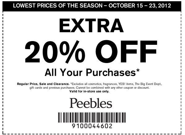 Peebles discount coupons