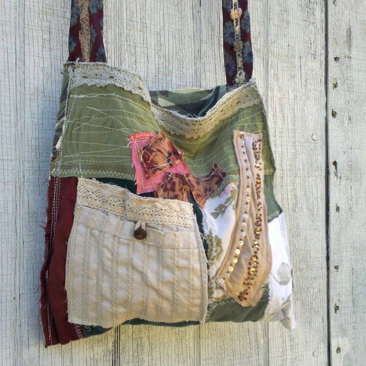 Upcycled purse funky eco tattered patchwork handbag for Art sites like etsy