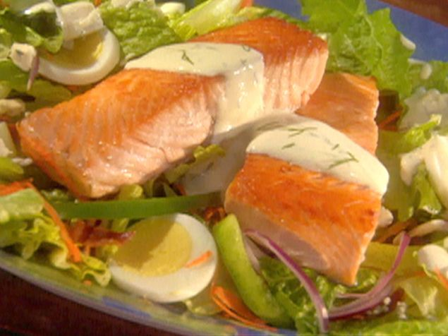 Salmon Cobb Salad in Creamy Dill Dressing Recipe : Robin Miller : Food ...