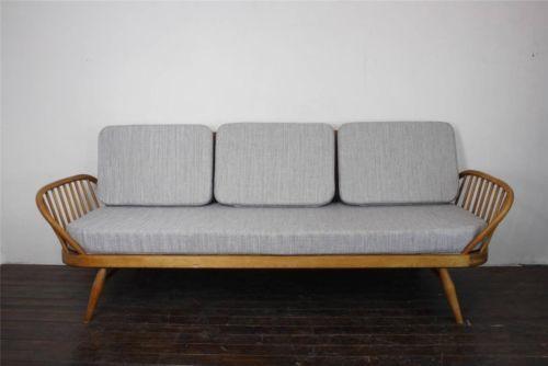 Retro Vintage Ercol Studio Couch Sofa Day Bed Refurb 39 D Blonde Grey 7