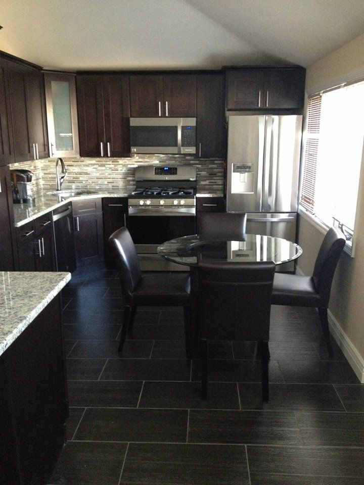 Pepper shaker kitchen kitchen cabinet kings finished for Kitchen cabinets with dark floors