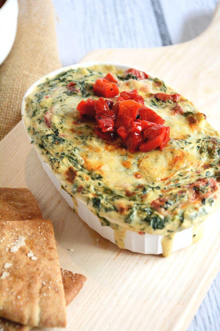 Roasted Garlic Spinach & Artichoke Dip with Garlic Pita Chips | Recipe