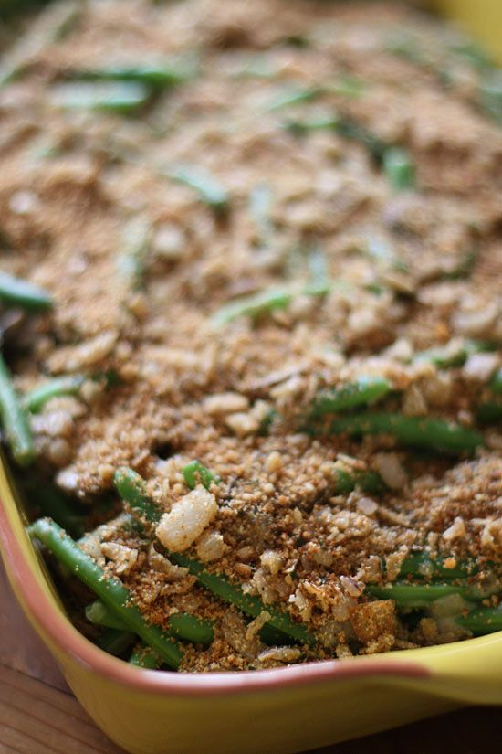 Lightened Up Green Bean Casserole with Shallot Crumb Topping | Recipe
