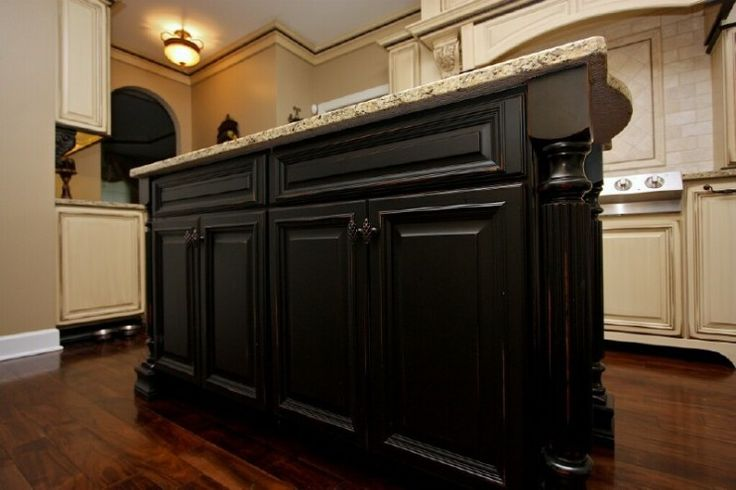 Distressed black and cream cabinets kitchen love - Cream distressed kitchen cabinets ...