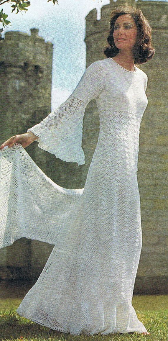 Enchanting wedding dress crochet pattern vintage pattern for Crochet wedding dress patterns
