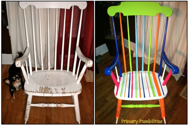 Primary Possibilities- a great blog with tons of great ideas. @Cindy Kleinman this would be a great way to spruce up that old rocker I unloaded....I mean gave to you last year! :)