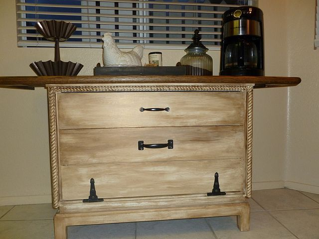 Furniture chest of drawers repurposed into a coffee station for Repurposed furniture before and after