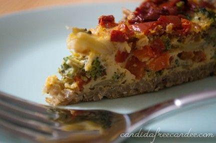 broccoli veggie quiche with a quinoa crust - added one clove of garlic ...