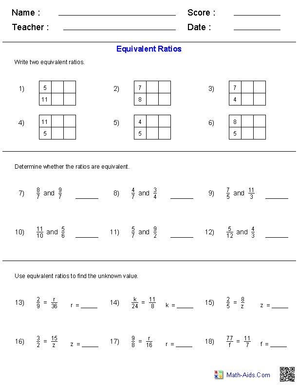 Equivalent Ratios Worksheets | Math-Aids.Com | Pinterest