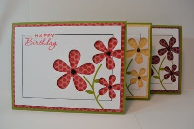 Super cute cards by Susan Block. I adore the die cut flowers with the polka dot paper peeking through. #pti