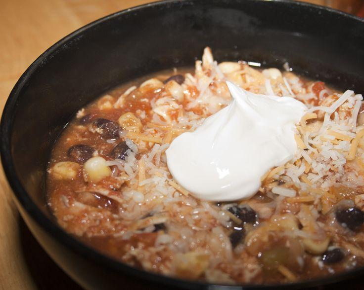 Skinny crock pot chicken taco chili. Yum!