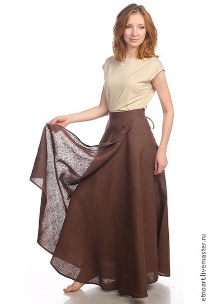 Летняя длинная юбка на запах