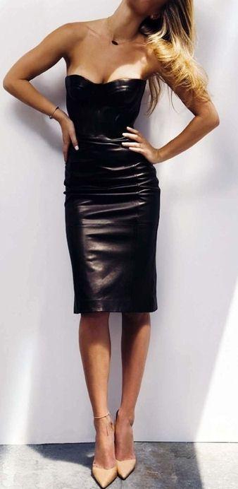 Sexy Leather Bodycon Dress ♥
