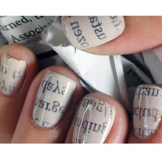 10 Nail Art Hacks with Everyday Household Objects: Newspaper Nails