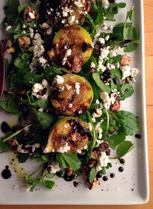 Grilled Fig & Watercress Salad with Goat Cheese, Toasted Walnuts ...
