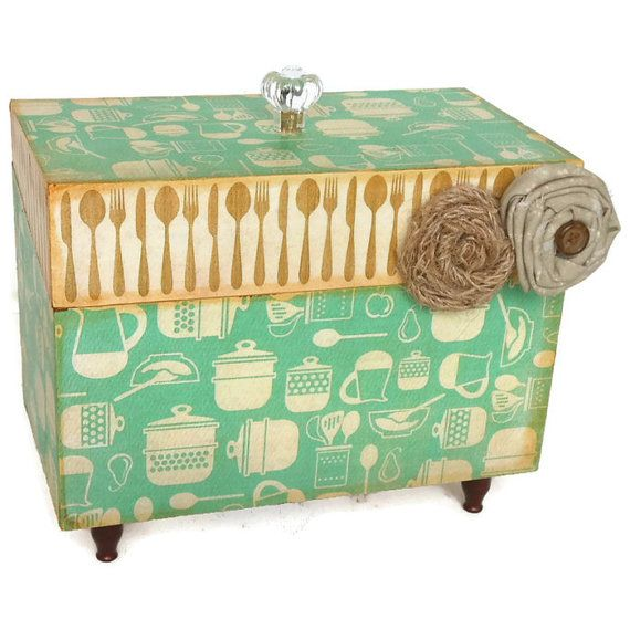 Recipe Box Retro Country Kitchen Decor Teal and Brown