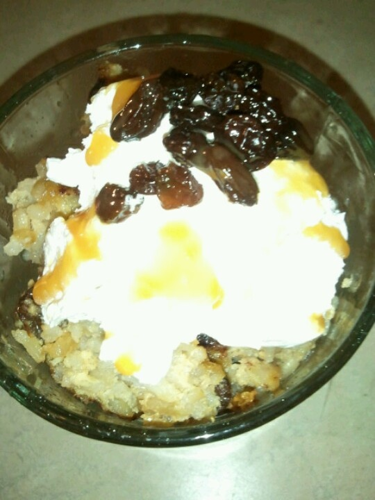 Rice pudding! Leftover rice 2 eggs Cinnamon 1cup brown sugar 1/2 cup ...