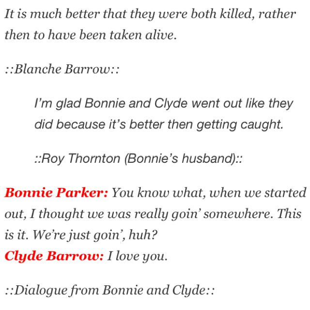 Bonnie and Clyde quotes Quotes & Such Pinterest