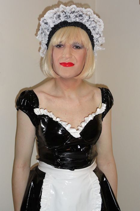 Sissy maid in black and white pvc