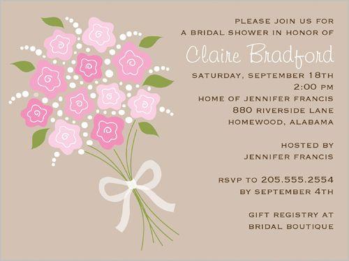 bridal shower invitations bridal bouquet cream bridal shower ...