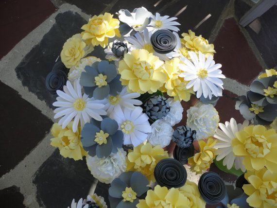 Loose paper flowers centerpiece wedding rose peony