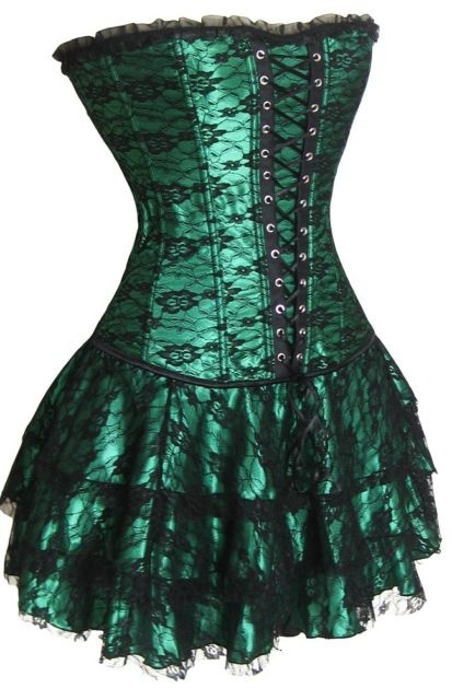 Colors sexy plastic boned lace up back corset bustier mini skirt