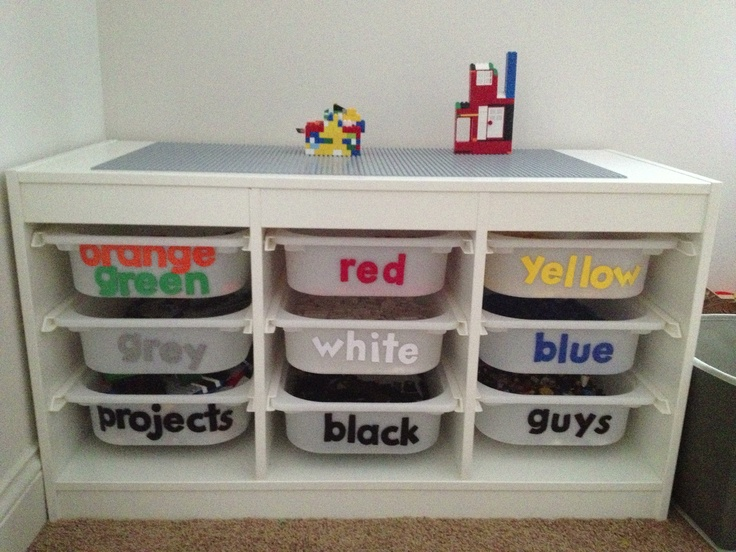 Ikea Trofast Extendable Toddler Bed ~ Ikea's Trofast storage unit, some labels and Lego base plates Lego