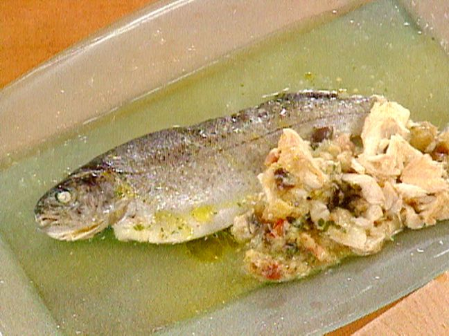 Whole Trout Stuffed with a Bacon and Eggplant Dressing   Recipe