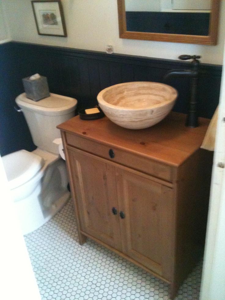 Small Vessel Sink Bowl - Honed Beige Travertine