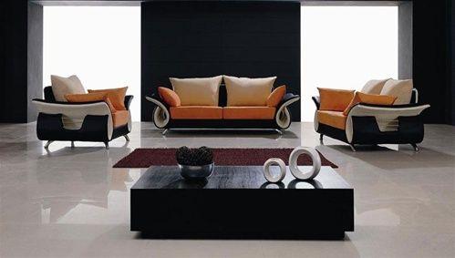 B05 orange beige microfiber living room set by ani casa shop