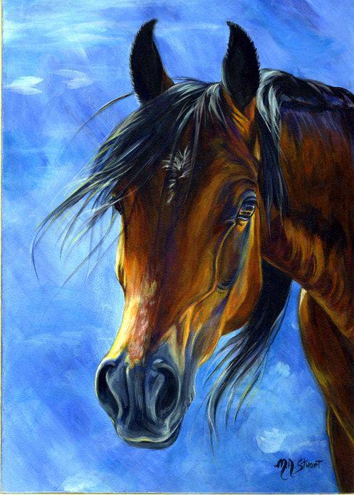 Original Arabian Horse Painting Art Sun-Kissed Bay