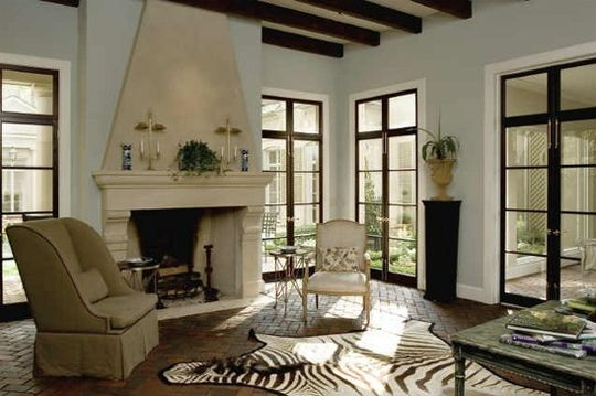 15 Examples of Steel Framed Windows & Doors, Plus 1 Look-Alike: Neutral Living Room with Zebra Rug
