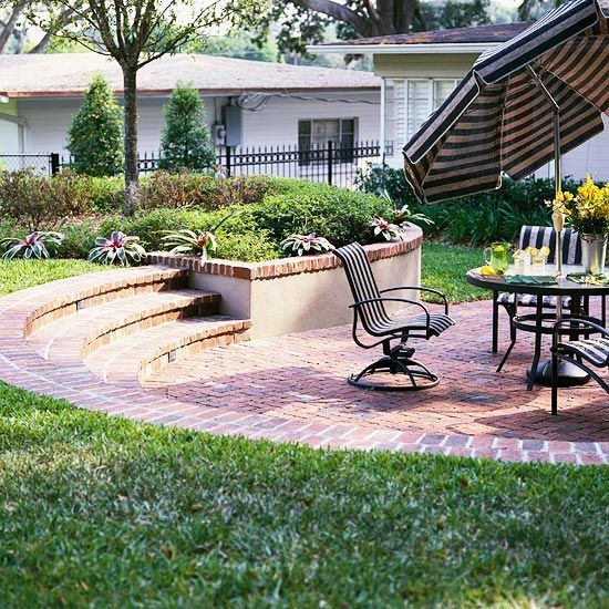 love a curved step edge to the patio which provides extra party