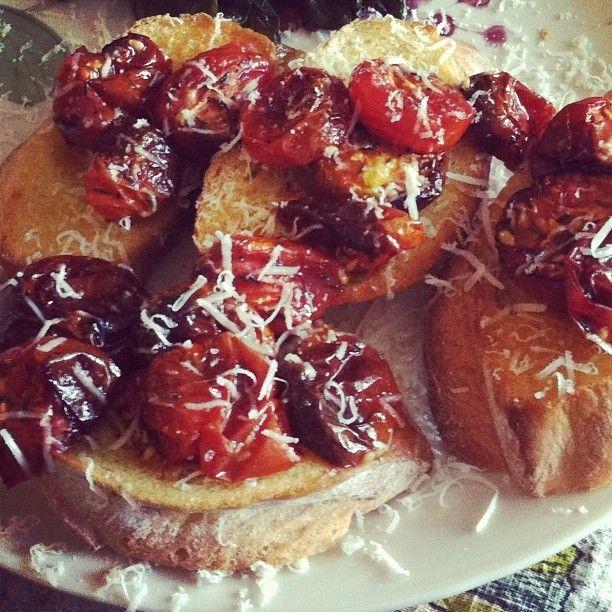 Slow-roasted cherry tomato bruschetta.   Easy eats   Pinterest