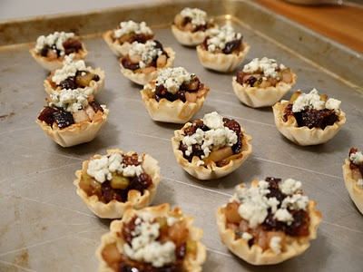 Pear, fig and thyme tarts with gorgonzola and honey-making these
